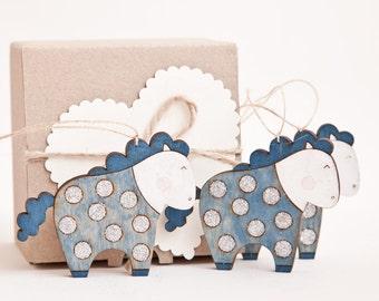 Holiday Ornaments. Christmas Ornaments. Wooden horses  Set of 3.