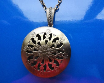 Antique Brass Aromatherapy locket on antique brass chain or leather cord - Father day gift