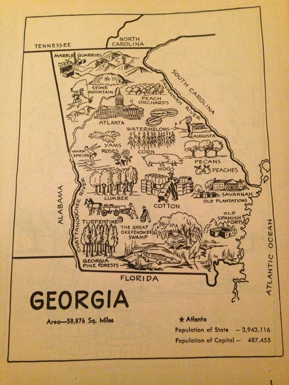 Old Georgia Map  Vintage Map Artwork  State Wall Art By