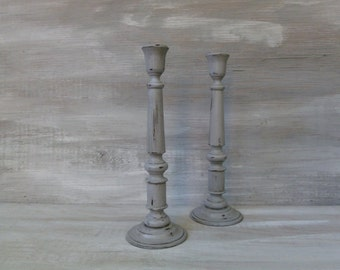 Tall Paris Grey Painted Candlesticks