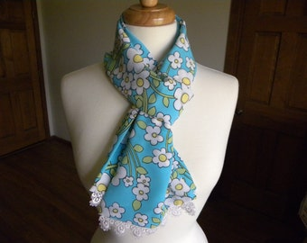 Women's Scarf, Daisies, Turquoise Blue Scarf