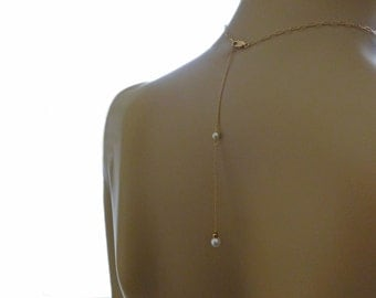 """Back Drop Attachment, Single Gold and Pearl Backdrop Extension, Rose Gold, Sterling Silver & Gunmetal Silver Options, Back Necklace 3"""" - 7"""""""