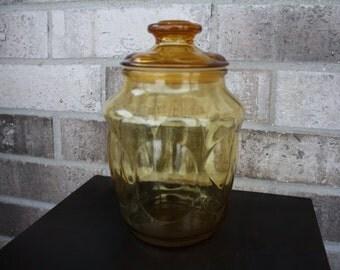 Amber Colored Glass Cookie Jar, Vintage Cookie Jar