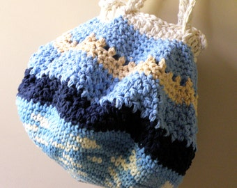 OOAK Large Beach and Market Tote, Crocheted Cotton Shoulder Strap Beach Bag in Nautical Blue Combination, Large Boho Tote Bag