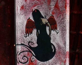 Fairy Fallen Hand Painted Glass Art