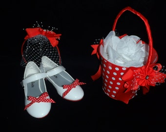 Special Occasion Decorated Girls Shoes with Matching Headpiece