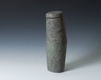 """50% off 9.5""""  Lidded """"Hip Vase"""" / Container in Matte Grey Stoneware /  Hand built - Contemporary unique gift - Ceramic Pottery - Modern"""