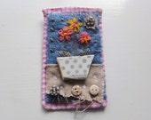 Textile sea pottery brooch. SALE