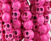 10 Skull Beads 8mm x 10mm Dyed Turquoise Stone  - Day of the Dead Rainbow Colors - Hot Pink