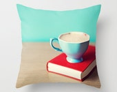 Pillow cover, turquoise pillow, mint pillow,aqua pillow,red pillow,coffee pillow,coffee art,kitchen decor,kitchen art,dorm decor office