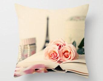 SALE Pillow cover, rose pillow, flower pillow, book pillow, french pillow, french decor, coral pillow,pink pillow,girl nursery decor,pillows