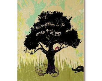 "Inspirational wedding art print on wood, ""The best things in life aren't things"""
