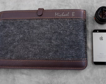 MONOGRAM Macbook Pro RETINA 15 leather case, Gray and BROWN.