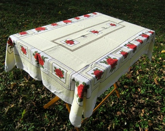 Vintage Red Roses Tablecloth, Large Retro Floral Tablecloth, Vintage Cotton Tablecloth Yellow with Roses