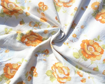 Retro Single Duvet Cover, Vintage 1960s 1970s Twin Duvet Cover, Orange Floral Duvet, Retro fabric