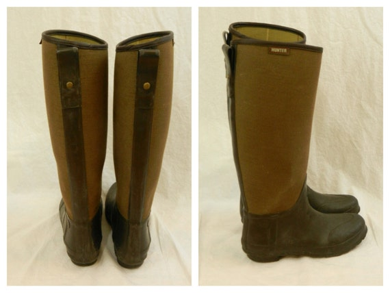 Vintage Hunter Boots Brown Rubber And Canvas Tall Riding
