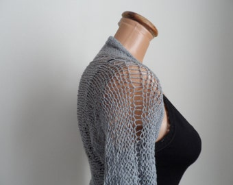 Light grey bolero,hand knitting, accessories,shrug...