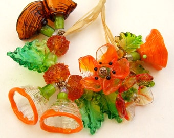 Lampwork Glass Flower Beads for Jewelry Making, A Romantic Bouquet, Set of 19 Orange, Brown, Amber and Green Made to Order