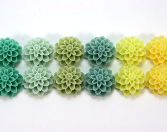 12 pcs Resin Flower Cabochons - 15mm Dahlia - Fresh Spring Colors Assorted Mix