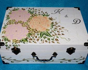 Wedding Guest Box Custom Wedding Keepsake Card Box Hand Painted Suitcase Card Box Personalized Wood Box Wedding Box Memory Box Wood Gifts