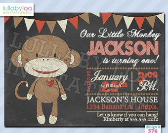 Sock Monkey Chalkboard Birthday Invitations - Printed Invitations - Custom Invitations