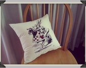 Alice in Wonderland Screenprinted, Rabbit with Trumpet handmade cushion
