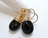 Black Onyx Earrings / Gold Fill Wire Wrapped / Black & Gold / SimplyJoli Dangle Earrings