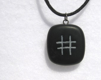 Hashtag Necklace, Jewelry, Pendant, Handmade Polymer Clay