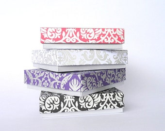 Gift box, Bracelet box,Wedding favor box,Packaging box 10 Silver Damask Print Assorted boxes 4 x 4 x 1 inch Bridesmaid gift box