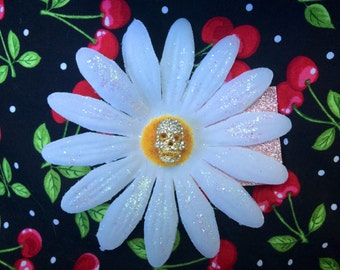 Sugar Rhinestone Skull with Daisy Hair Flower Rockabilly Pinup