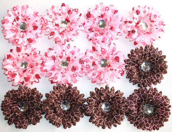 Daisy Flower - Pink Ladybug & Pink Giraffe Daisy Flower Heads - 4 inch Daisy Flower Heads (NO CLIPS)