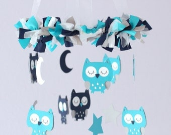 OWL Nursery Mobile in Turquoise, Navy, Gray & White- Baby Mobile, Crib Mobile, Baby Shower Gift
