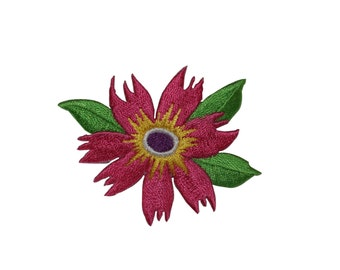 ID #6321 Red Yellow Flower Blossom Plant Iron On Embroidered Applique Patch
