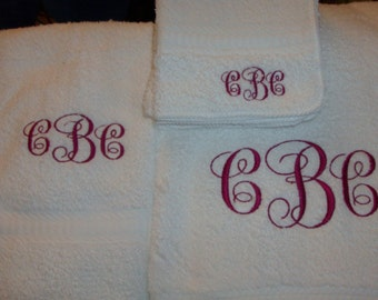 Monogrammed Towel Set Three Pieces Personalized Wedding Gift