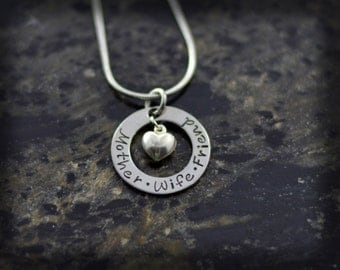 Engraved Washer Necklace with Sterling Silver Heart