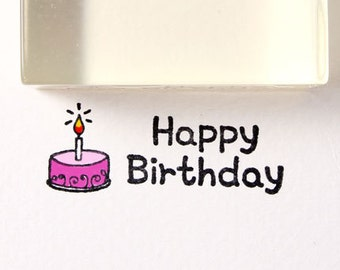 40mm Happy Birthday 02 Rubber Stamp