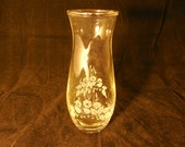 Etched Clear Glass Bud Vase