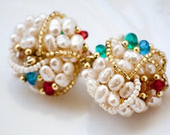 Vintage Clip on Earrings Faux Pearls, Fresh Water Pearl Cluster Red and Green Accent Beads