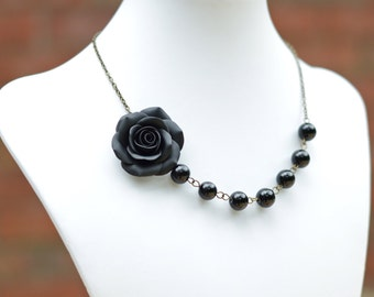 FREE EARRINGS Black Rose And Black Beads  Necklace, Black Flower Necklace, Black Rose Asymmetrical Necklace