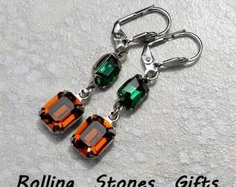 Octagon 2 Stone Smoked Topaz & Emerald Swarovski Lever back Rhinestone Earrings-Octagon Crystal Rhinestone Earrings -Leverback Earrings