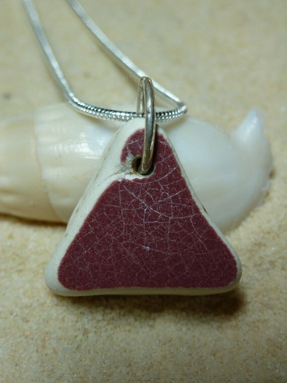 Triangular shaped red beach pottery neckleace with sterling silver chain