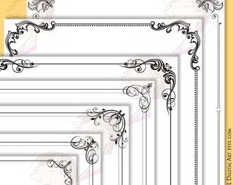 Digital Page Borders Frames Decoration, Decorative Swirls Foliage Foliate Leaf Designs Ornate Clipart Wedding Invitation Certificate 10283