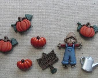 Buttons / Fall Collection Pumpkin Patch / Scarecrow Autumn Halloween buttons