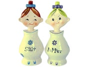 "Thanksgiving Sale - Vintage ""Jolly Girls"" Salt & Pepper Shakers, Pixieware Style Collectibles, Made in Japan"