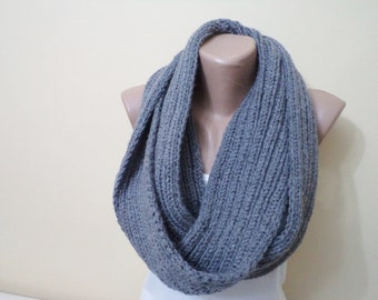 Knitted Infinity Scarf, Women's Fashion Accessories, Scarves, neck warmers, circle scarf, Handmade Scarf, Gift İdeas, Fall, Autumn