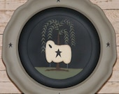 Primitive Decor-Handpainted Plate with Primitive Sheep,  Weeping Willow Tree & Primitive Stars