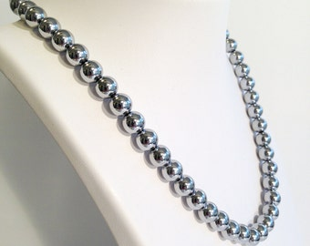 Magnetic hematite necklace - bright silver 8mm beads - custom sized