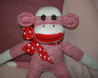 Traditional Classic Red Heel Sock Monkey Doll In Red