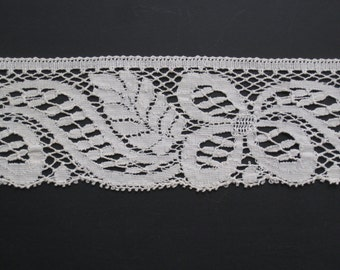 "34"" of Wide Antique Flat Lace Trim - Creamy Ivory Cotton - NOS Vintage Supplies - 3"" Wide - Last Piece"