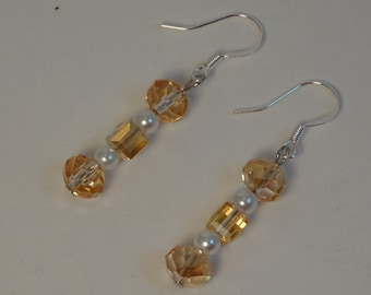 Champagne Colored Glass Beads With White Glass Pearls on French Hooks E-034